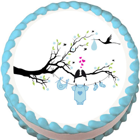 Love Birds Boy Baby Shower Edible Cake, Cupcake & Cookie Topper