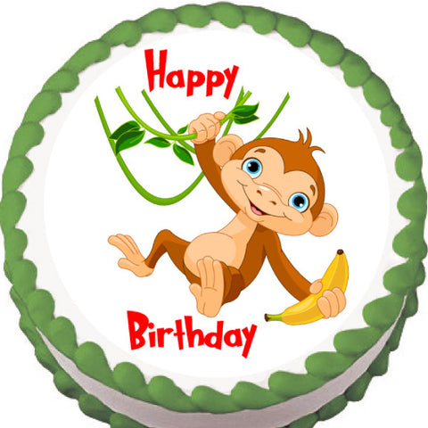 Hanging Monkey Edible Cake, Cupcake & Cookie Topper