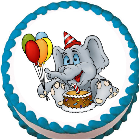 Elephant Birthday Party Edible Cake, Cupcake & Cookie Topper