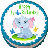 Elephant and Butterflies Edible Cake, Cupcake & Cookie Topper