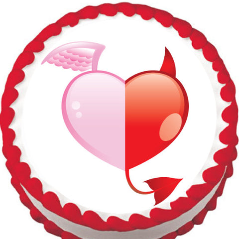 Angel Devil Heart Valentine Edible Cake, Cupcake & Cookie Topper