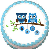 Blue Owls on a Branch Baby Shower Edible Cake, Cupcake & Cookie Topper