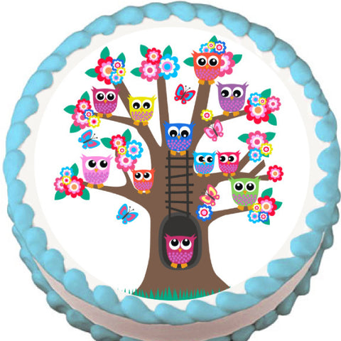 Owl Tree Edible Cake, Cupcake & Cookie Topper