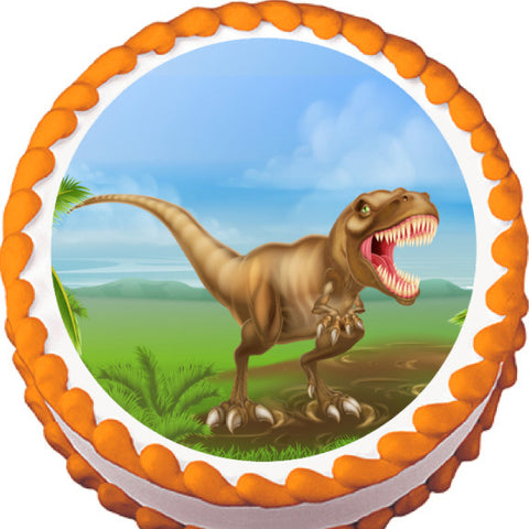 T-Rex Swamp Edible Cake, Cupcake & Cookie Topper