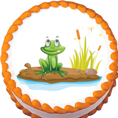 Frog by a Pond Edible Cake, Cupcake & Cookie Topper