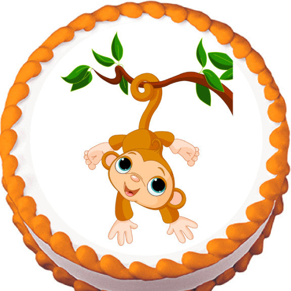 Monkey on a Branch Edible Cake, Cupcake & Cookie Topper