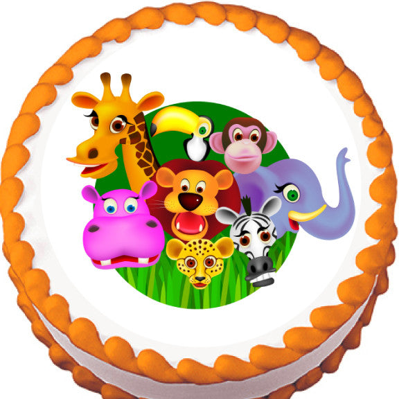 Jungle Animals Edible Cake, Cupcake & Cookie Topper