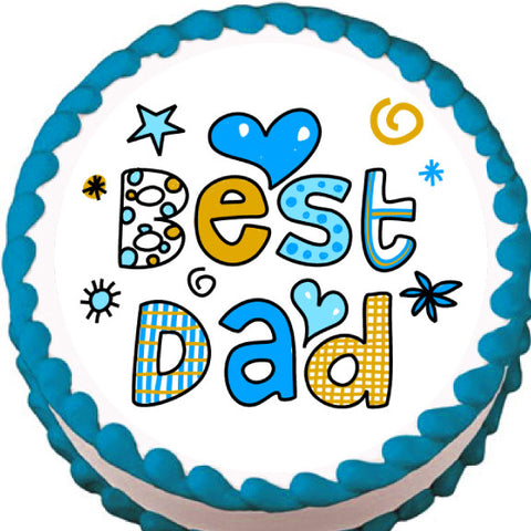 Best Dad Edible Cake, Cupcake & Cookie Topper