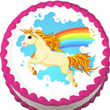 Unicorn and Rainbow Edible Cake, Cupcake & Cookie Topper