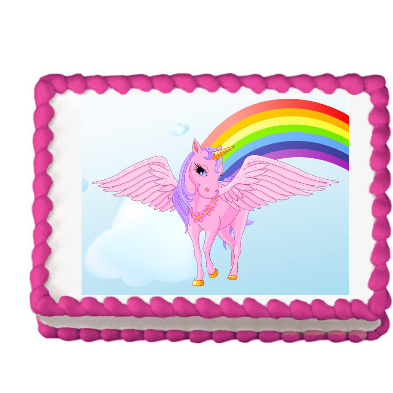 Pink Unicorn and Rainbow Edible Cake Cupcake Cookie Topper My