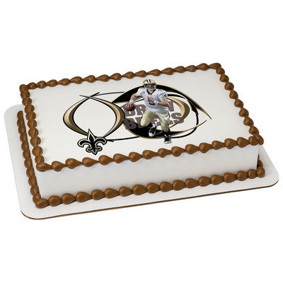 New Orleans Saints Drew Brees Picture Frame NFL Edible Cake, Cupcake & Cookie Topper