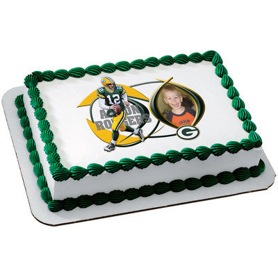 Green Bay Packers Aaron Rodgers Picture Frame NFL Edible Cake, Cupcake & Cookie Topper