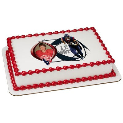 Houston Texans JJ Watts Picture Frame NFL Edible Cake, Cupcake & Cookie Topper