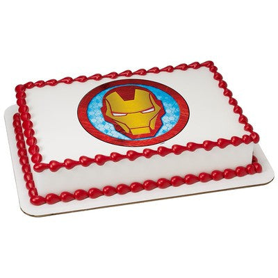 Ironman Mask Icon Edible Cake, Cupcake & Cookie Topper