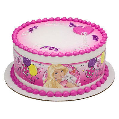 Barbie Sweet Sparkly Party Edible Cake Side Print
