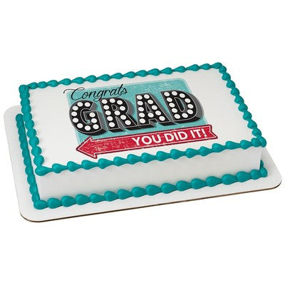 Congrats Grad Edible Cake, Cupcake & Cookie Topper