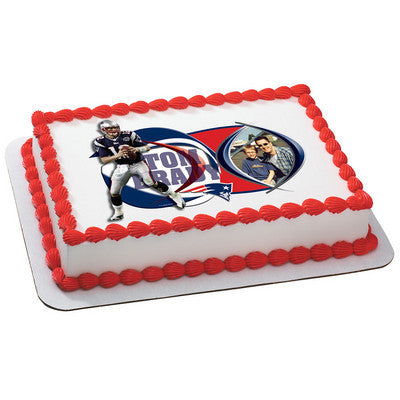 New England Patriots Tom Brady Picture Frame NFL Edible Cake, Cupcake & Cookie Topper