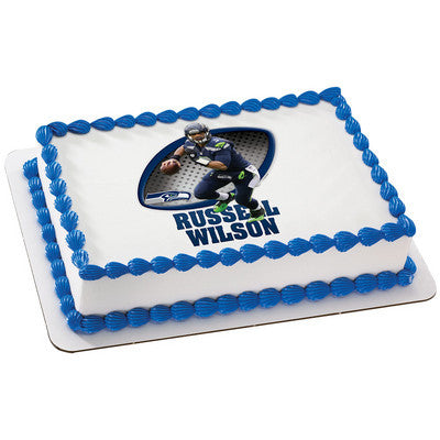 Seattle Seahawks Russell Wilson NFL Edible Cake, Cupcake & Cookie Topper