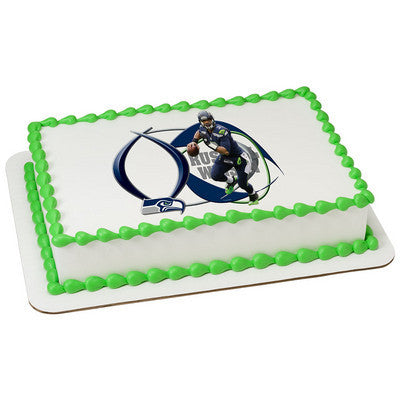 Seattle Seahawks Russell Wilson Picture Frame NFL Edible Cake, Cupcake & Cookie Topper