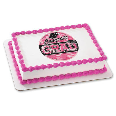 Grad Pink Camo Edible Cake, Cupcake & Cookie Topper