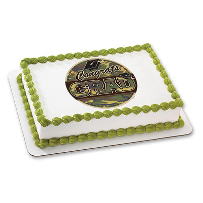 Grad Camo Edible Cake, Cupcake & Cookie Topper