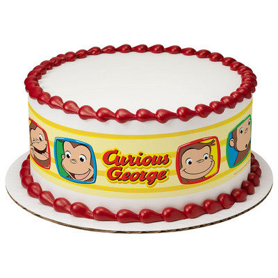 Curious George Funny Faces Edible Cake Side Print