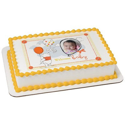 Winnie the Pooh Welcome Baby Photo Frame Edible Cake, Cupcake & Cookie Topper