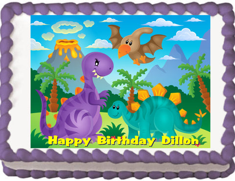 Cartoon Dinosaurs Edible Cake, Cupcake & Cookie Topper