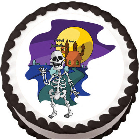Cartoon Skeleton Halloween Edible Cake, Cupcake & Cookie Topper