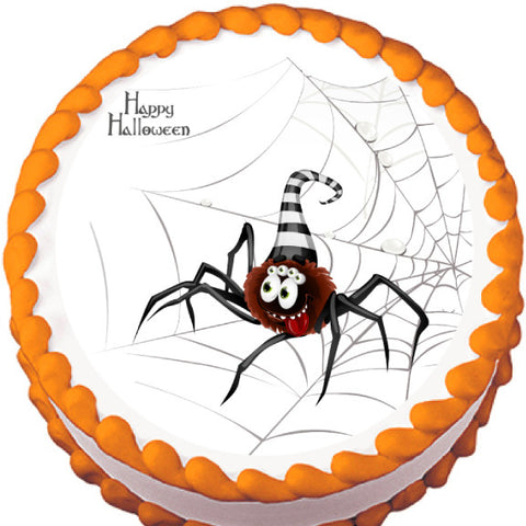 Cartoon Spider on Web Halloween Edible Cake, Cupcake & Cookie Topper