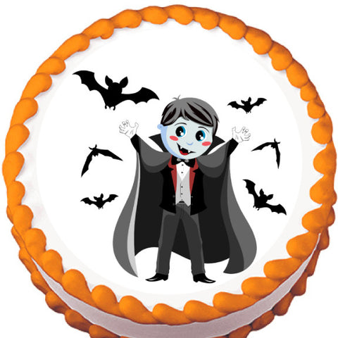 Child Vampire Halloween Edible Cake, Cupcake & Cookie Topper