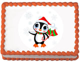 Christmas Penguin Edible Cake, Cupcake & Cookie Topper