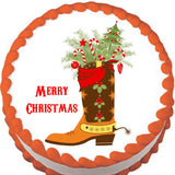 Cowboy Boot Christmas Edible Cake, Cupcake & Cookie Topper