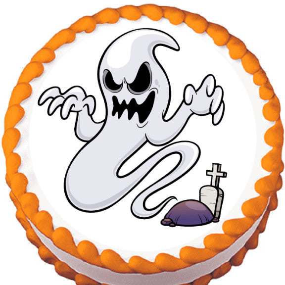 Graveyard Ghost Halloween Edible Cake, Cupcake & Cookie Topper