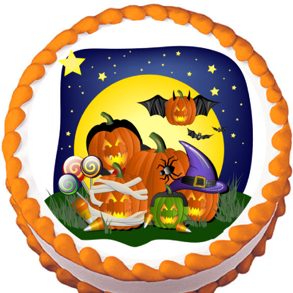 Pumpkins in Costume Halloween Edible Cake, Cupcake & Cookie Topper