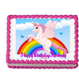 Rearing Pink Unicorn and Rainbow Edible Cake, Cupcake & Cookie Topper
