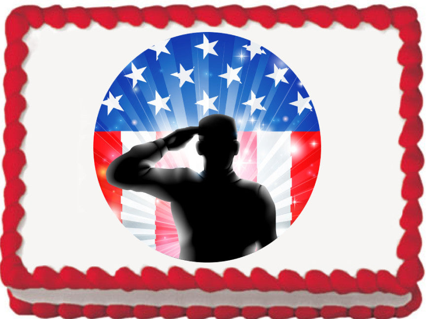 Saluting Soldier Edible Cake, Cupcake & Cookie Topper