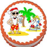 Santa's After Christmas Vacation Edible Cake, Cupcake & Cookie Topper