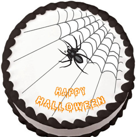 Spider on Corner Web Halloween Edible Cake, Cupcake & Cookie Topper