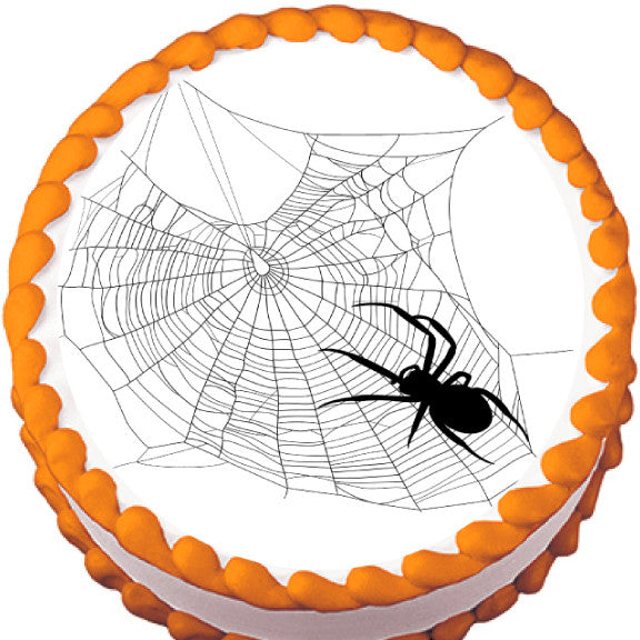Spider on Messy Web Halloween Edible Cake, Cupcake & Cookie Topper