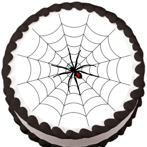 Spider on Round Web Halloween Edible Cake, Cupcake & Cookie Topper