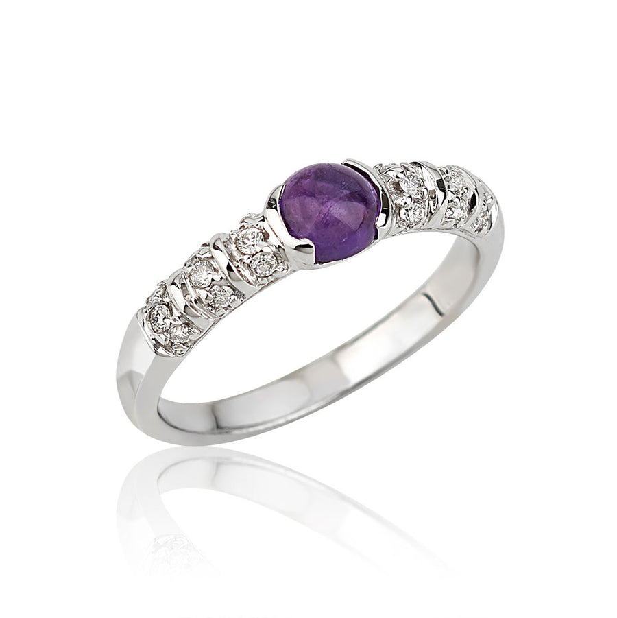 Blongy Baby Ring in White Gold and Amethyst