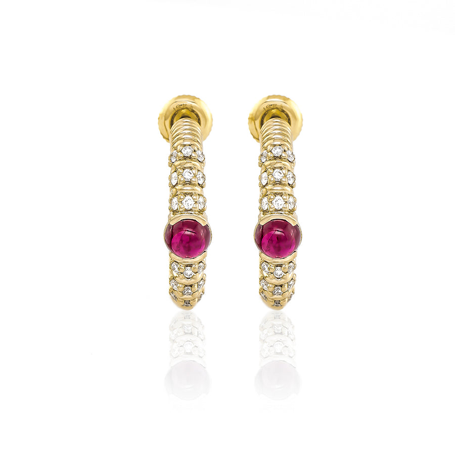 Blongy Medium Hoop Earrings in Yellow Gold and Rubies