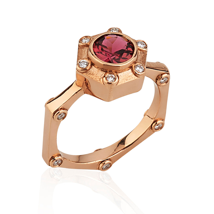 Hexy Ring in Rose Gold and Pink Tourmaline