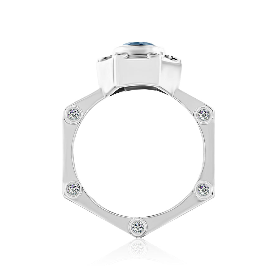 Hexy Ring in White Gold and Aquamarine