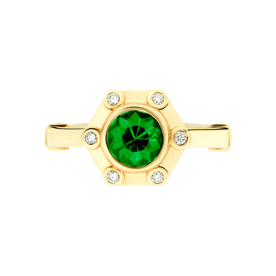 Hexy Ring in Yellow Gold and Green Tourmaline