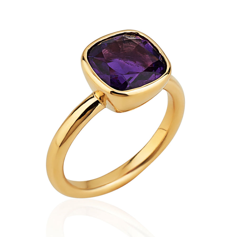 Khushi Cushion Ring in Yellow Gold and Amethyst