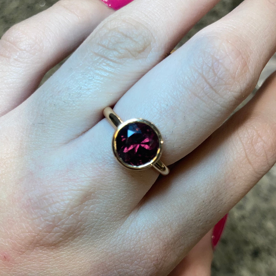Khushi Round Ring in Rose Gold and Rubellite Tourmaline