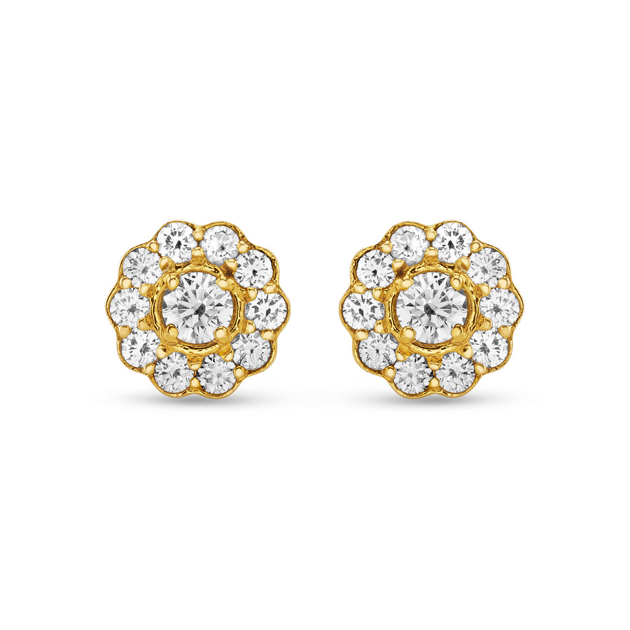 Fleur Earrings in Yellow Gold and Diamonds