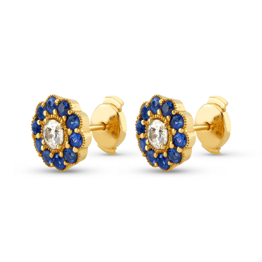 Fleur Earrings in Yellow Gold and Blue Sapphires and Yellow Diamonds